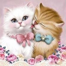 """Алмазная вышивка (алмазная мозаика) """"Кот и кошка"""" АЖ-1296"""
