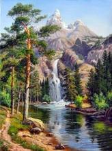 """Алмазная вышивка (алмазная мозаика) """"Горный водопад"""" АЖ-1347"""