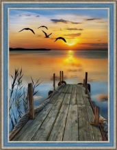 """Алмазная вышивка (алмазная мозаика) """"Закат на озере"""" АЖ-1493"""
