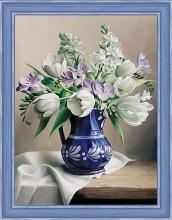 """Алмазная вышивка (алмазная мозаика) """"Белые тюльпаны"""" АЖ-1503"""