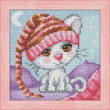 """Алмазная вышивка (алмазная мозаика) """"Сонный котенок"""" АЖ-1571"""