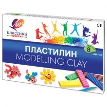 """Пластилин  """"КЛАССИКА"""" 8 цветов,стек, пластиковый вкладыш,  160 гр"""