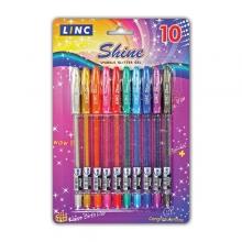 """Набор гелевых ручек Linc """"Shine"""" 10 цветов, с блёстками"""