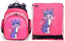 """Школьный ранец Hummingbird Kids ТК18 """"Patrician Cat""""+мешок для обуви"""