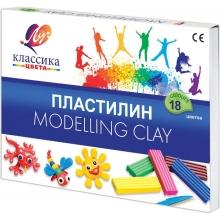 """Пластилин  """"КЛАССИКА"""" 18 цветов,стек, пластиковый вкладыш,  360 гр"""