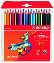Карандаши цветные толстые трехгранные Stabilo 18 цветов