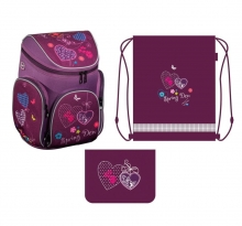 Ранец школьный Boxi, Hearts, 38х29х19 см с наполнением