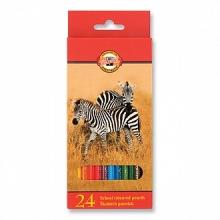 Карандаши Животные, 24 цв. карт.