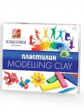 """Пластилин  """"КЛАССИКА"""" 10 цветов,стек, пластиковый вкладыш,  200 гр"""