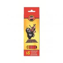Набор цветных карандашей KOH-I-NOOR КРОТ 18 цветов круглые с заточкой