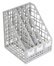 Лоток вертикальный сборный 4 отделения серый