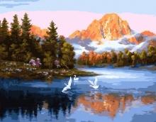 Картина по номерам Лебеди на озере 40х50см.