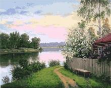 Картина по номерам Дача у реки 40х50см.