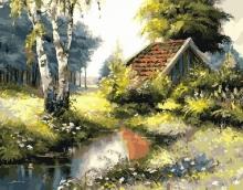 Картина по номерам Домик в лесу 40х50см.