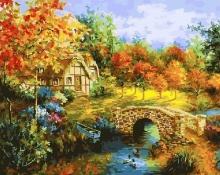 Картина по номерам Мостик через пруд 40х50см.