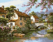 Картина по номерам Деревушка у воды 40х50см.