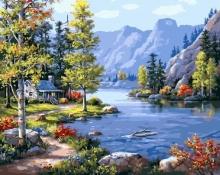 Картина по номерам Домик в горах 40х50см.