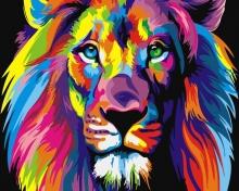 Картина по номерам Радужный лев 40х50см.