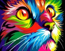 Картина по номерам Радужный кот 40х50см.