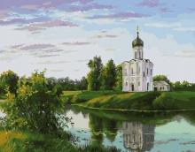 Картина по номерам Церковь на берегу 40х50см.
