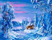 Картина по номерам Зимний домик 40х50см.