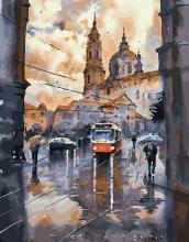 Картина по номерам Питерский трамвай 40х50см.