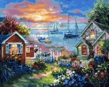 Картина по номерам Волшебный городок у моря 40х50см.