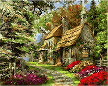 Картина по номерам Лесной домик 40х50см.