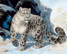 Картина по номерам Снежный барс (ирбис) 40х50см.