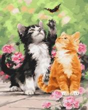 Картина по номерам Котята и бабочка 40х50см.