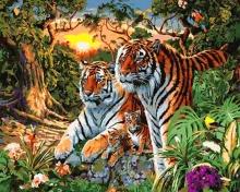 Картина по номерам Тигры на закате 40х50см.