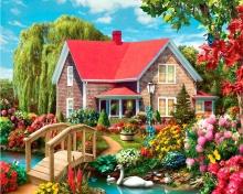 Картина по номерам Красный дом 40х50см.