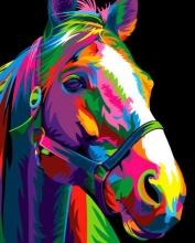Картина по номерам Цветная лошадь 40х50см.