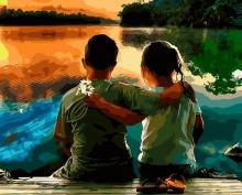 Картина по номерам Дружба на берегу 40х50см.