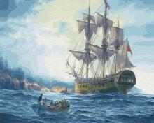 Картина по номерам Британский корабль 40х50см.