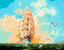 Картина по номерам Парусник и чайки 40х50см.