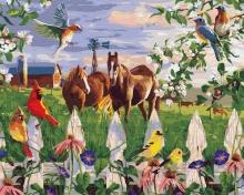 Картина по номерам Лошади и птицы 40х50см.