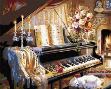 Картина по номерам Кот у рояля 40х50см.