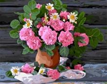 Картина по номерам Цветы в глиняной вазе 40х50 см.