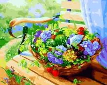 Картина по номерам Корзинка с цветами 40х50см.