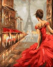 Картина по номерам Девушка на улице Парижа 40х50см.