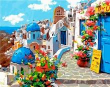 Картина по номерам Голубые крыши Санторини 40х50см.