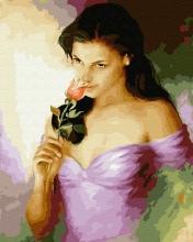 Картина по номерам Брюнетка в розовом платье 40х50см.