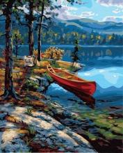 Картина по номерам Лодка в горах 40х50см.