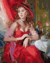 Картина по номерам Девушка в красной шляпе 40х50см.