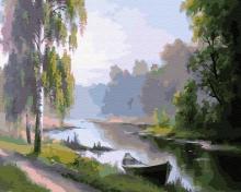Картина по номерам Дорога, лодка и река 40х50см.