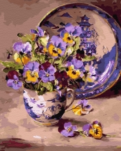 Картина по номерам Букет в чашке 40х50 см.