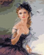 Картина по номерам Кокетка в чёрной шляпке 40х50см.