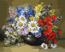 Картина по номерам Цветы в вазе 40х50см.