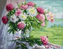 Картина по номерам Пионы и хризантемы 40х50см.